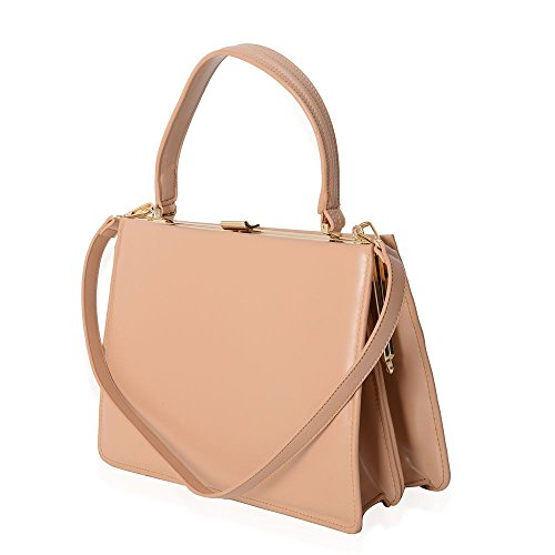 With Beige Bag Shoulder Genuine Removable Strap Tote Leather Colour 100 EYqHfn