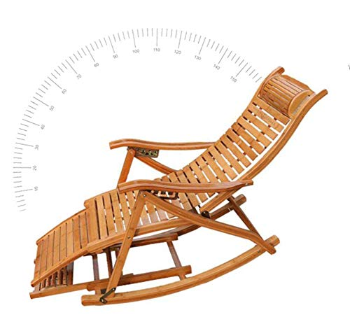 Bamboo Rocking Lounge Folding Chair,Imitation Antique Telescopic Massage Lazy Balcony Recliners, Free-Riding Nature Bamboo Chair for Backyard, Picnics, Barbeques, ()