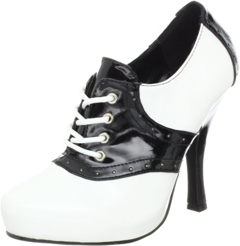 Lace Leather Heels Patent - Funtasma Women's Saddle-48/B-W Platform Pump,Black/White Patent,10 M US