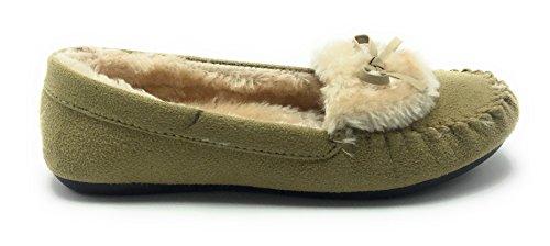 Women Warm Winter Comfortable Classic Fur Lining Moccasin Slip on Flat Shoes Beige C-11 Znt3p