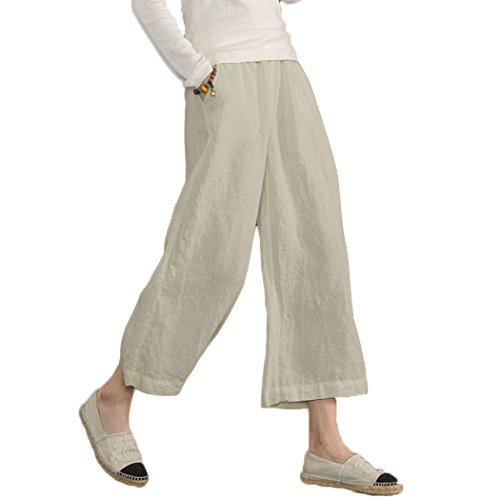 Ecupper Womens Casual Loose Plus Size Elastic Waist Cotton Trouser Cropped Wide Leg Pants Natrual 12-14