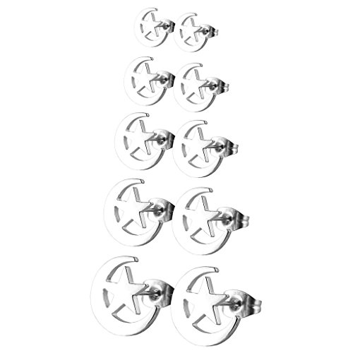 Price comparison product image Aprilsky Lot of 5 Pairs Assorted Stainless Steel Unisex Body Jewelry Gift Set Stud Earrings 21 Guuge