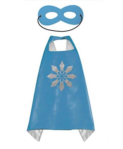 [Rush Dance Deluxe Comics Satin Unisex Super Hero CAPE & Matching MASK (Blue & Silver Snow (Elsa))] (Car Costume Spider)