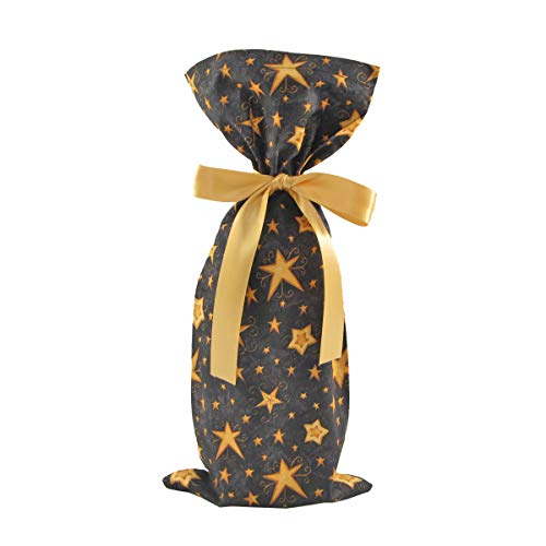 Reusable Black Fabric Gift Bag with Gold Stars for Birthday, Graduation, or Any Occasion (Wine/Skinny 6.5 Inches Wide by 15 Inches High) (Fabric Gift Wine Bags)