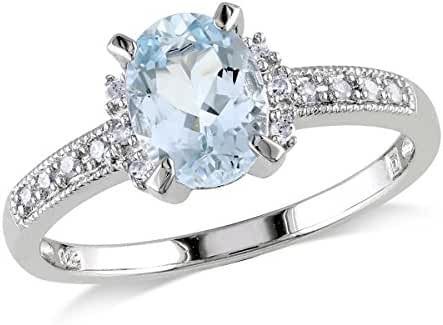 Aquamarine Ring 1.0 Carat (ctw) with Diamonds in Sterling Silver