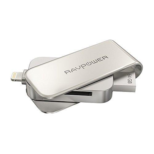 iPhone Flash Drive 64GB USB 3.0 SD Memory Card Reader, RAVPower MFi Lightning Jump Thumb Pen Drive, External Storage Expansion for iPad iPod iOS Mac Windows PC [Upgraded Version]