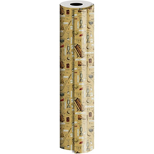 JAM Paper® Industrial Size Bulk Wrapping Paper Rolls - Hole in One Golf Design - 1/4 Ream (416 Sq Ft) - Sold Individually by JAM Paper