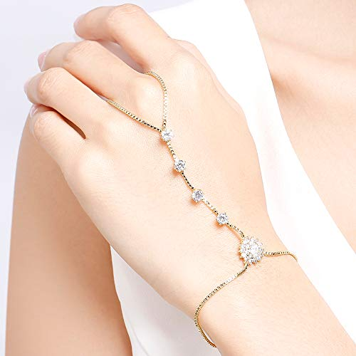 18k Yellow Gold Plated Cubic Zirconia Sunflower Hand Chain Bracelet with Ring Adjustable Slave Chain Hand Harness