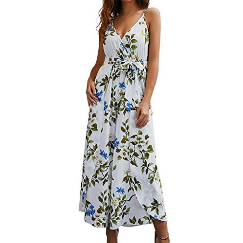 Halter Dresses for Women丨Sexy Deep V Neck Backless Floral Print Split Maxi Party Dress丨Womens Summer Boho Long Dress(White,XL) by HULKAY (Image #1)