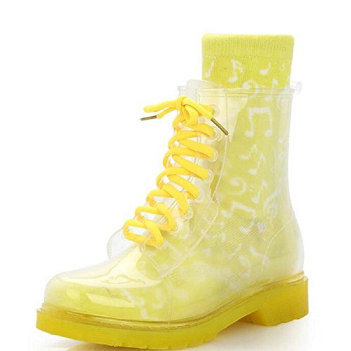 Alger Women Transparent Rain Boots Rubber Lace Up Women Ankle Boots Waterproof Casual Comfort Ladies Martin Boots Shoe, 35, yellow