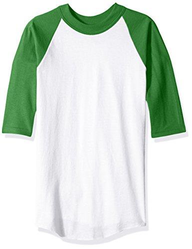 Soffe Boys' Big' YTH Raglan Baseball50c/50p, White/Kelly, X-Small -