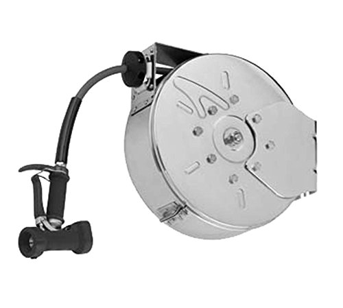 T&S Brass B-7142-C05 Enclosed Stainless Steel with Front Trigger Water Gun Hose Reel by T&S Brass