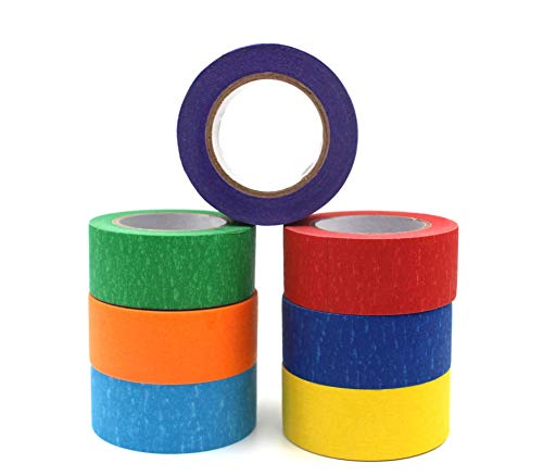 Colored Masking Tape 1 inch x 43 Feet x 7 Rolls | Decorative Writable Tape | Arts And Crafts Tape |Labeling Math Science Art Project | Teachers Art Supplies | Kids Toddlers Preschool | School Supplies