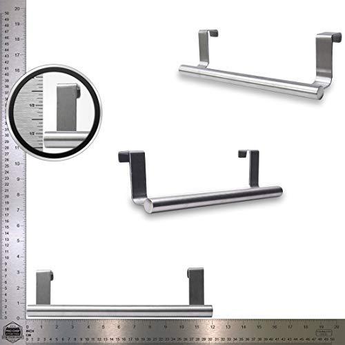 Pro Chef Kitchen Tools Over Cabinet Towel Bar - 12 Inch Over Door Towel Rack - Dish Towel Holder - Set Of Two Cabinet Door Towel Bar Hangers - Bathroom Towel Hanger - Under Cabinet Drying Rag Holders