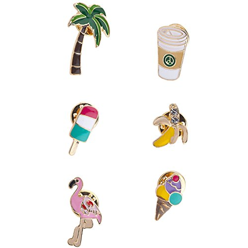 Assorted Enamel - Lux Accessories Tropical Flamingo Pineapple Novelty Emoji Enamel Pin Set 6 PC