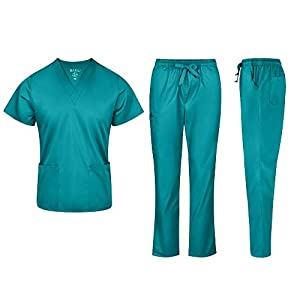 BANU Unisex Medical Set Comfortable Premium Medical Set for Women with Shaped V-Neck Collar & 4-Way Stretch Fabric (Teal, Large)