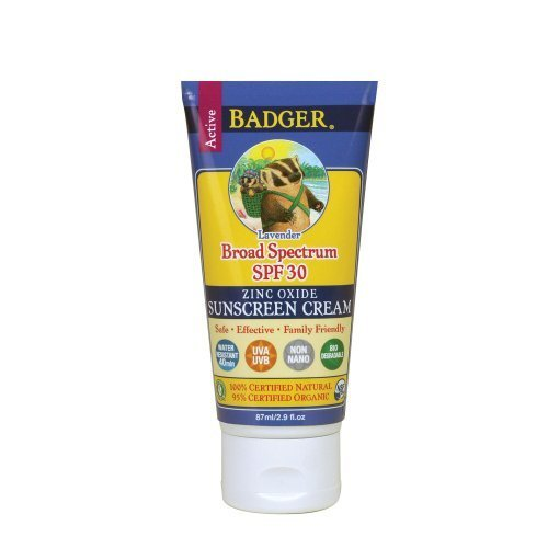 Badger Balm Lavender Sunscreen Cream- SPF 30 - 2.9 oz NewBorn, Kid, Child, Childern, Infant, (Lavender Sun Protection Cream)