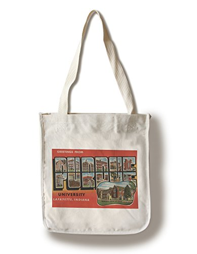 (Greetings from Purdue U, Lafayette, Indiana - Vintage Halftone (100% Cotton Tote Bag - Reusable))