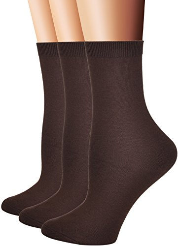 Flora&Fred Women's Flat Knit Cotton Crew Socks, Solid Color, Size 9-11 / Shoe Size 5-9, Brown, 3 Pairs Pack