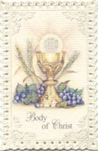 Chalice and Grapes First Communion Lace Holy Card by Gifts Of Faith