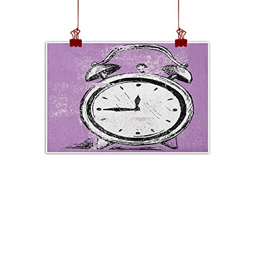 Home Wall Decorations Art Decor Doodle,Retro Alarm Clock Figure with Grunge Effects Classic Vintage Sleep Graphic, Purple White Black 32