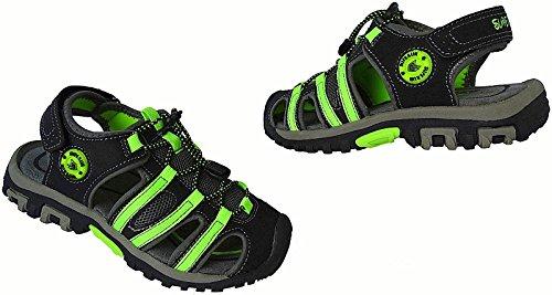 Jungen Kinder Trekking Sandale Schuhe Outdoorsandale Sandalette Gr.25 - 36 Art.-Nr.5540 schwarz-apfel-grün