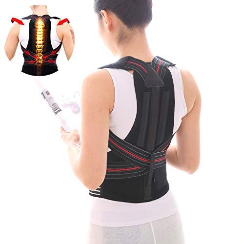 Back Brace Posture Corrector Under Clothes Men & Women, Lumbar Support Shoulder Straightener Orthopedic Corrective Improve Device, Lower Upper Back Pain Relief, Adjustable Elastic Straps (H1, Black)