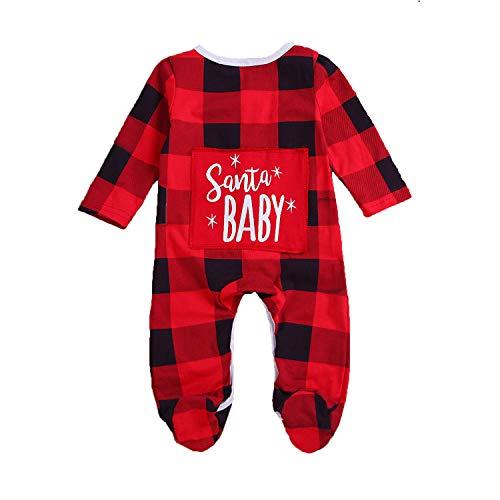 Zukuco Baby Girls Boys Christmas Romper Stripe Jumpsuit Pajamas Long Sleeve Romper Santa Baby Plaid Onesie