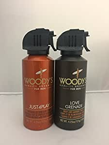 Woody's Grooming: Body and Laundry Spray, Love Grenade & Just4play Maximum All Over Body Spray 4.25 Ounces