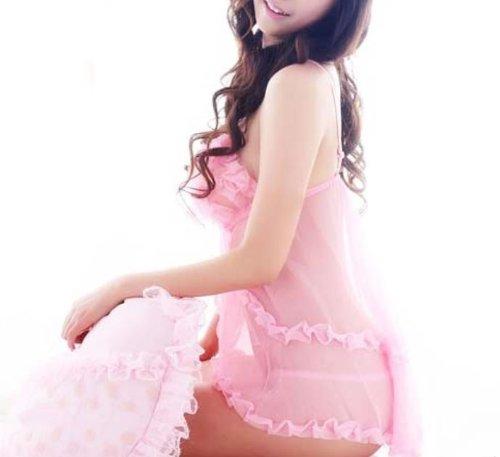 ANDI ROSE Lace Sleepwear Lingerie Babydoll Dress G-string Pink