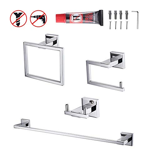 Kes 4-Piece Bathroom Accessory Set No Drill Glue RUSTPROOF Without Drilling Screw Free Wall Mount Polished SUS 304 Stainless Steel, LA240DG-42 ()