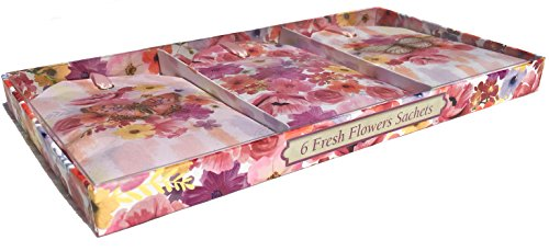 Butterfly Scented Perfume - Punch Studio Caddy Box Fresh Flowers Scented Fragrance Sachets, Painted Butterflies 65058, 6 ct