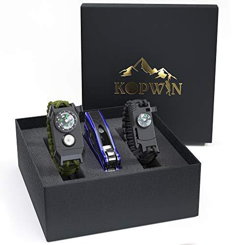 Kopwin Paracord Survival Bracelet Set - Bonus Keychain