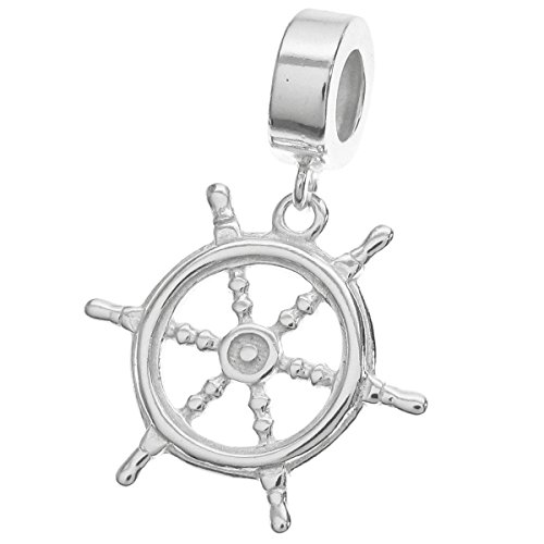 Dreambell 925 Sterling Silver Ship Helm Rudder Dangle Bead for European Charm Bracelets (Pandora Nautical Charms)