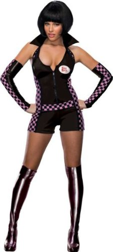 Pierre Silber Costumes (Women'S Costume: Trixie Racer - Medium - Product Description - Black Halter Top Romper With Pink Checkerboard Accents, Attached Collar, Glovelets And Boot Tops. Adult Women'S Medium Fits Size 8-10.)