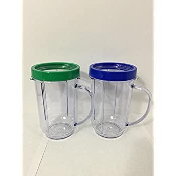 2 Party Cups for Magic Bullet with  Lip Ring(red, blue, green to yellow  colors vary)