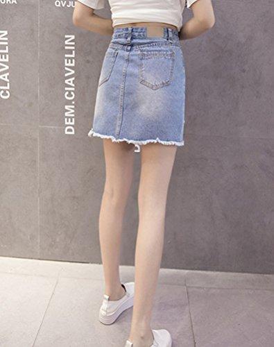 Sentao Elegante Corto Falda de Mezclilla Mujer Bordado Mini Vaquera Faldas Azul