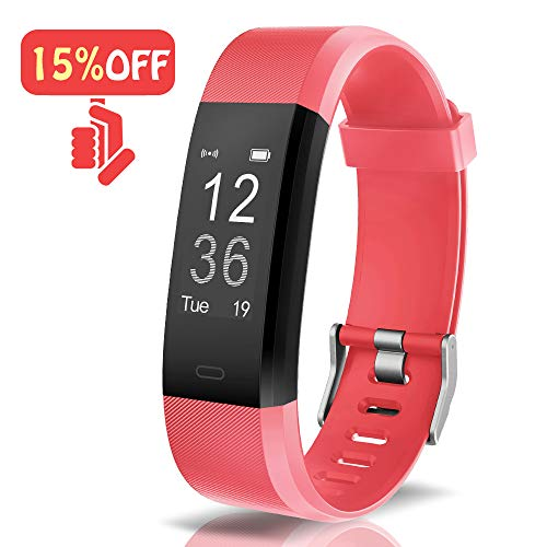 Arbily Fitness Tracker Activity Tracker Watch with Heart Rate Monitor Waterproof Smart Wristband with Pedometer Calorie Counter Call Message Notification Sleep Monitor for Kids Women and Men(red) ()