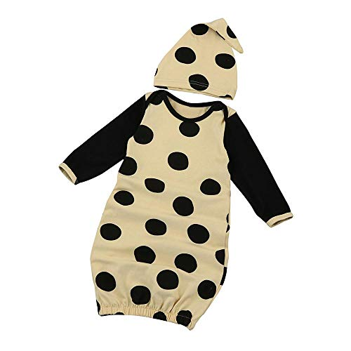 (mikplatinumsales Baby Girl Polka Dot Long Sleeve Pajamas Gown+Hat 2pcs Set)