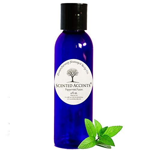 Scented Accents All-Natural Massage and Body Oil, Peppermint Aromatherapy Oil, Therapeutic Massage Oil, Skin Conditioner, Cuticle Oil, Organic Vegan Skin Softening Moisturizer Made in USA ()