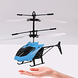 RC Toy, Flying Mini RC Drone Infraed Induction Helicopter Aircraft Flashing Shinning LED LightingToys For Kids,GBell (Blue)