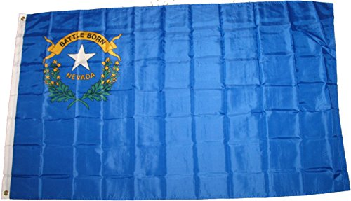Premium Nevada State Flag (3 By 5 Foot) - Large Flag With Brass Grommets - 100% Super Polyester Material - Perfect For Hanging Indoor/Outdoor