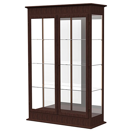 Waddell Varsity Hinged Doors Lighted Display Case, 48W by 77H by 18''D, Mirror Back with Espresso Finish by Waddell
