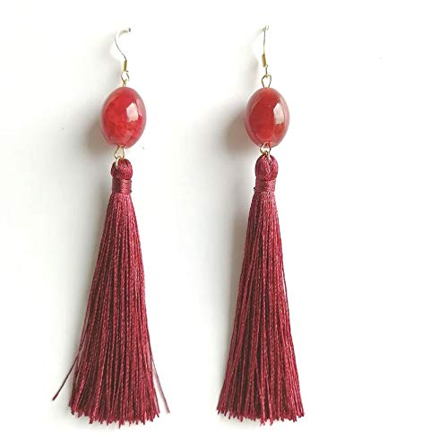 (Dove Eyes Agate Tassel Earrings)