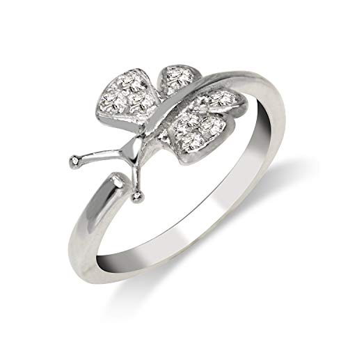 JewelryWeb Solid 925 Sterling Silver Elegant Sideways Butterfly Adjustable Cubic Zirconia Toe Ring (8mmx15mm)