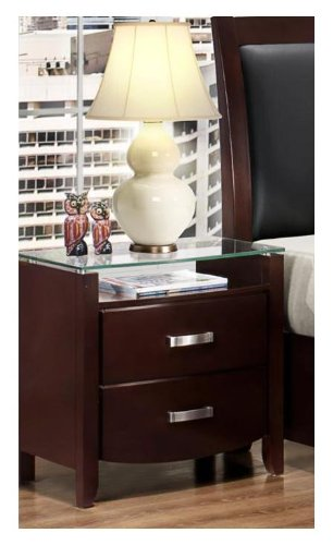 (Homelegance Lyric 2 Drawer Nightstand in Dark Espresso )