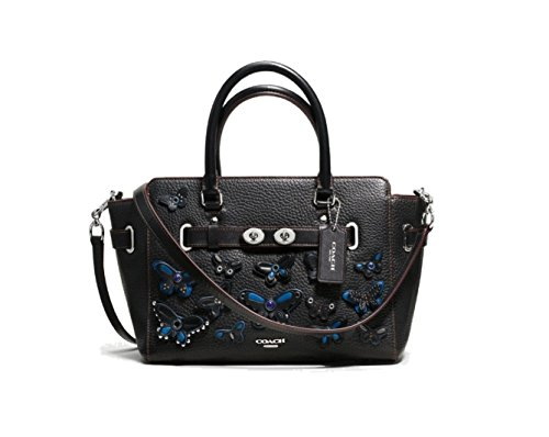 Coach Blake Carryall 25 IN Pebble Leather with All Over Butterfly Applique Black - Butterfly Coach