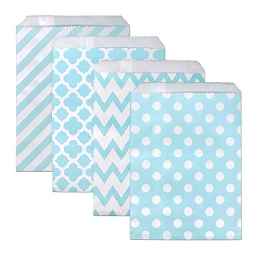 Candy Buffet Bag 100 PCS Paper Treat Bags 5 x 7 INCH Chevron Goodie Bags Biodegradable Snack Sacks Party Favor Gift Bag for Wedding Baby Shower (Baby Blue)