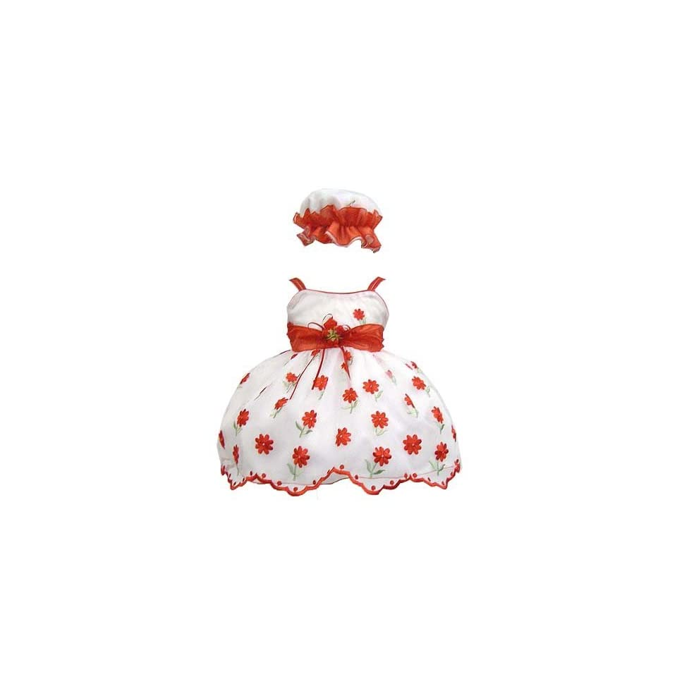 Elegant Baby Girl White Dress with Red Embroidery. Available in 12,18,24,36 Months