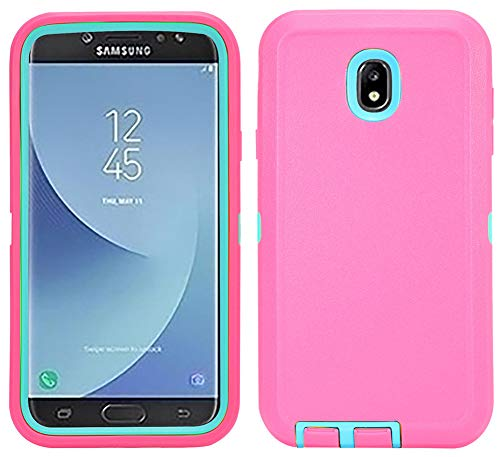 Case for Samsung Galaxy J7 2018, Hybrid Shockproof Protective Phone Cover with Kickstand and Built-in Screen Protector for Samsung J7 2018/ Galaxy J7 Aero/ J7 Refine/ J7 Star/ J7 Crown(2018) (Pink) -